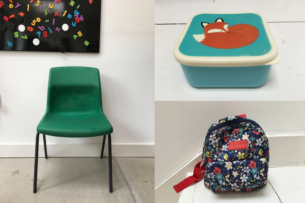 school chair, lunchbox, school bag