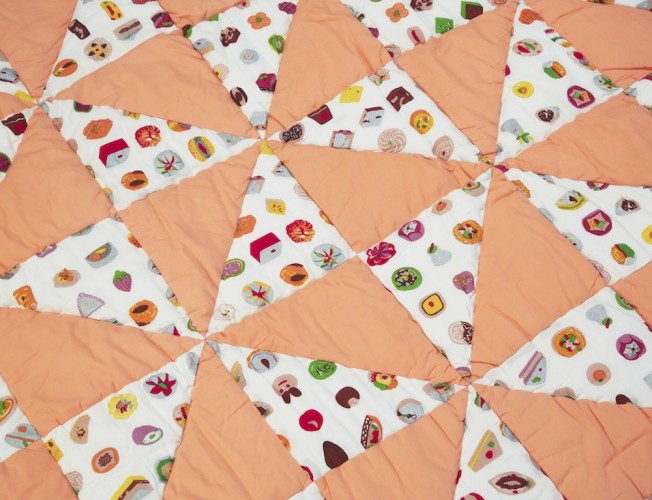 Orange mithai patchwork quilt_detail