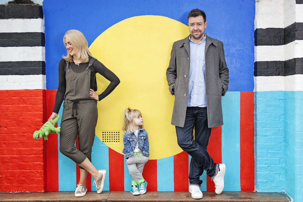 Papa Pukka on fatherhood and freelancing. Here, with Mother Pukka and the Urchin in front of Camille Walala mural -sunday - theearlyhour.com