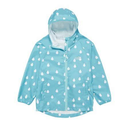 Muddy Puddles kids clothes - puddlepac jacket aqua raindrops