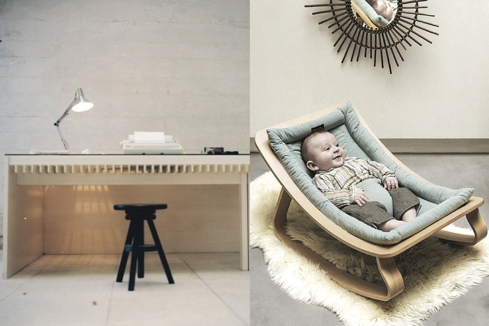 office space / baby in bouncer