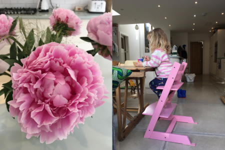 pink high chair / pink peonies