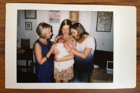 annie ridout with her mum, sister and baby daughter