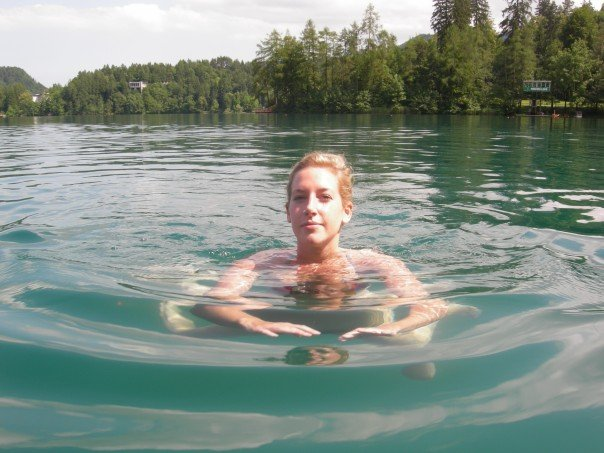Swimming in a lake in Slovenia